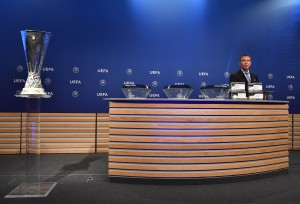 NYON, SWITZERLAND - June 19: UEFA Head of Club Competitions Michael Heselschwerdt on stage prior to the UEFA Europa League 2017/18 Second Qualifying Round Draw at the UEFA headquarters, The House of European Football on June 19, 2017 in Nyon, Switzerland. (Photo by Harold Cunningham - UEFA/UEFA via Getty Images)